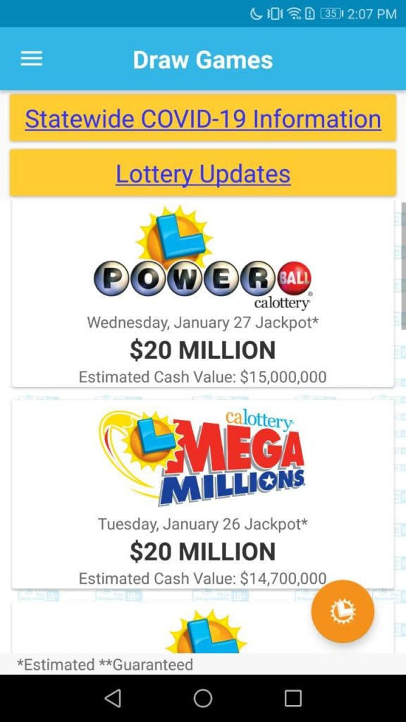 CA Lottery Home