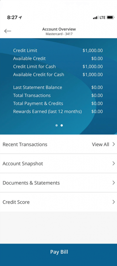 Credit One Account overview