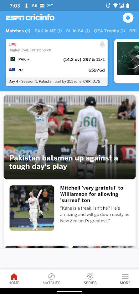ESPNCricinfo Home Screen