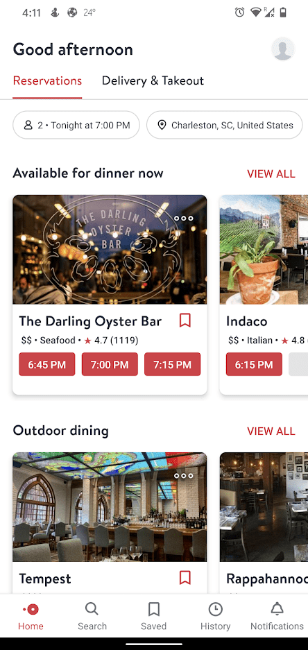 OpenTable Home screen