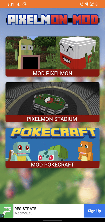 Pixelmon Mod for MCPE Main screen