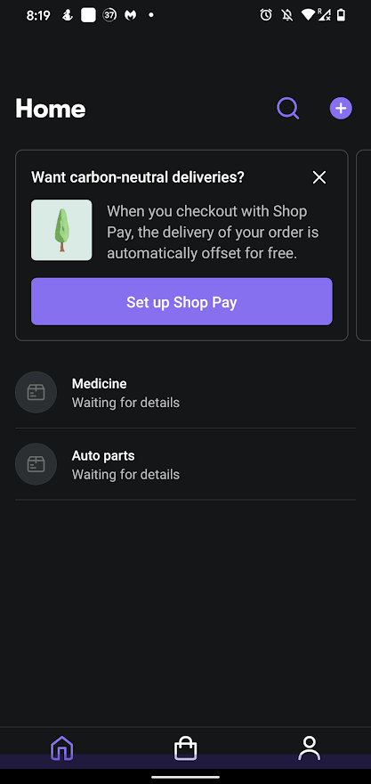 Shop package and order tracker Shipment